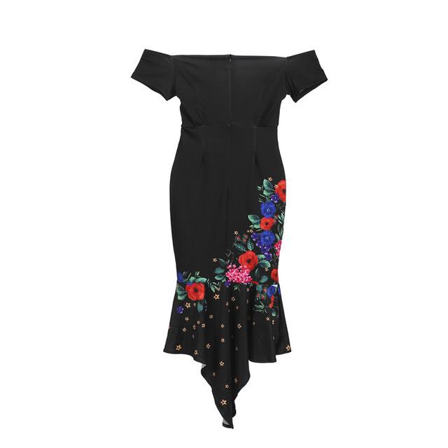 Vestido de verano con hombros descubiertos para mujer de manga corta ajustado con volantes ropa vestido Irregular para fiesta estampado XXL