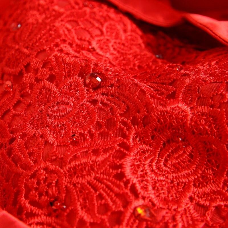 appliques de dentelle rouge satin sirène Trailing cheongsam de style - Vêtements nationaux - Photo 4