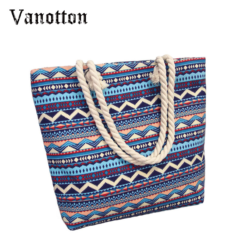 Summer Canvas Women Beach Bag Fashion Color Printing Lady Girls Handbags Shoulde