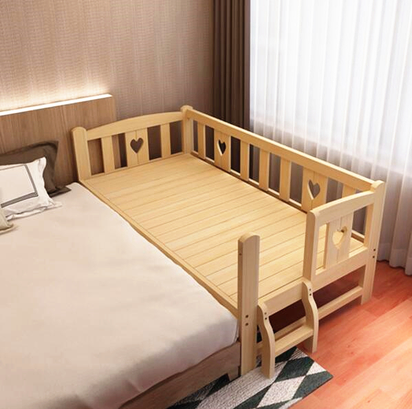 Solid Wood Simple Modern Lengthen Widen Children Bed Combine Big Bed Baby Crib Strong Bearing Pine Wooden Baby Bed