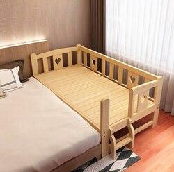 Madera sólida Simple moderna alargada amplia cama para niños combinar Cama grande cuna de bebé fuerte rodamiento cama para bebé de madera de pino