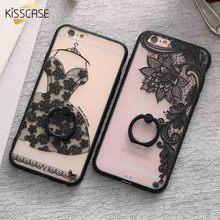 KISSCASE Lace Case For iPhone 6 6s Ring Holder Phone Back Cover For iPhone 6 Plus 6s Plus Retro Floral Cases For iPhone 6 Capa