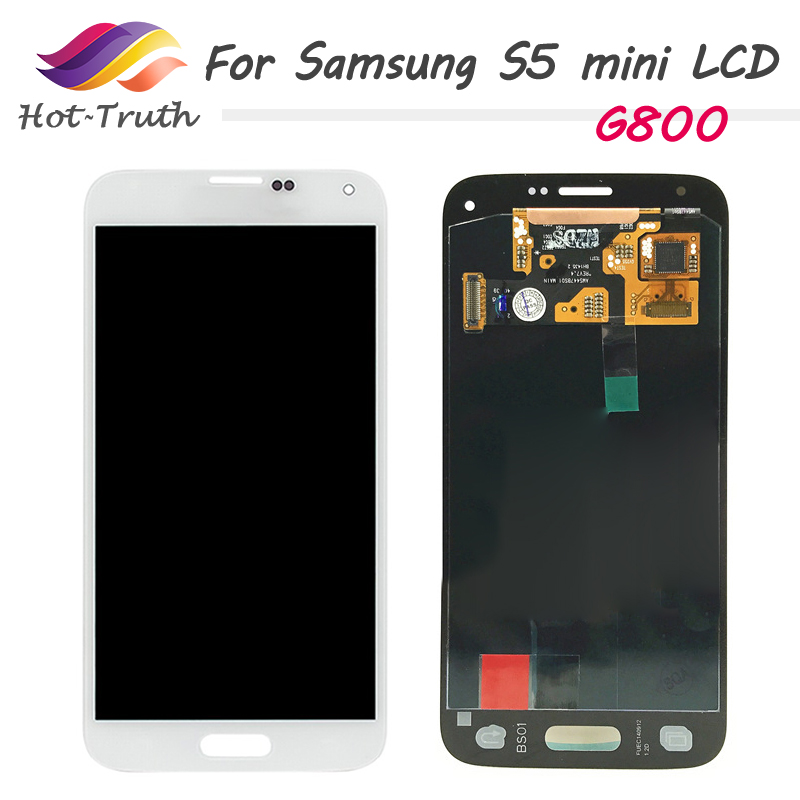 For <font><b>Samsung</b></font> Galaxy S5 Mini G800 <font><b>G800F</b></font> G800H Super AMOLED LCD <font><b>Display</b></font> Touch Screen Digitizer Assembly with Sticker Tempered Glass image
