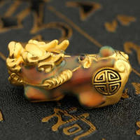 Pure 24K Yellow Gold Bracelet 3D 999 Gold Enamel Design Pixiu Dragon Son Bracelet 0.6