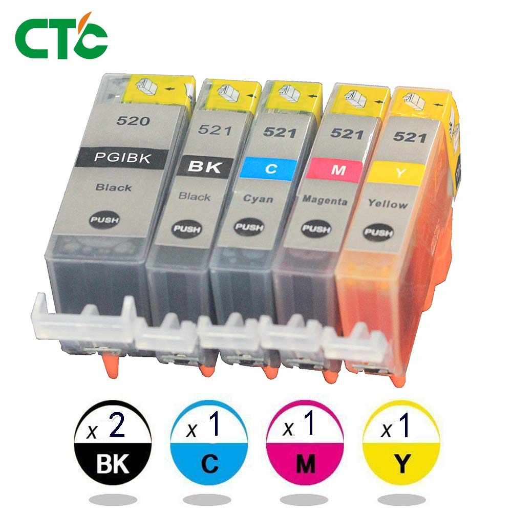 5x Ink Cartridge PGI 520 CLI 521 untuk Canon IP 4600 4700 MP 560 980 640 Printer dengan Chip