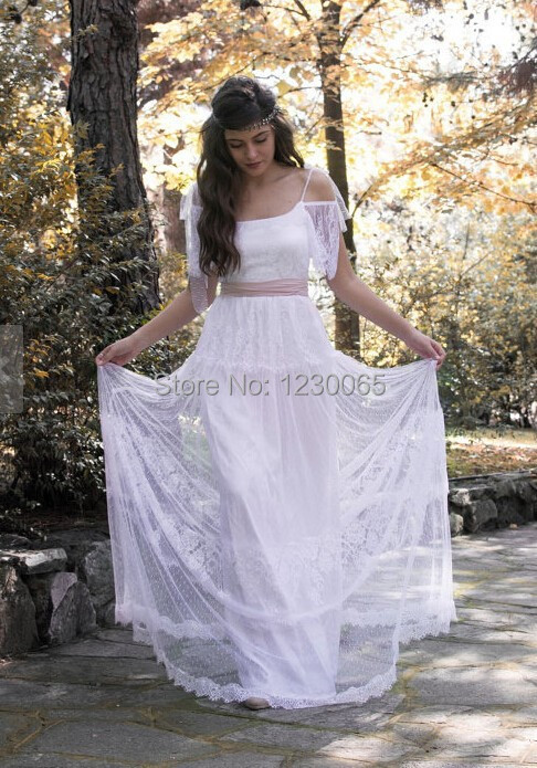 vestido de renda Bohemian Bridal Gown Long party Dress cap sleeves backless Bride White lace Wedding Dresses 2015