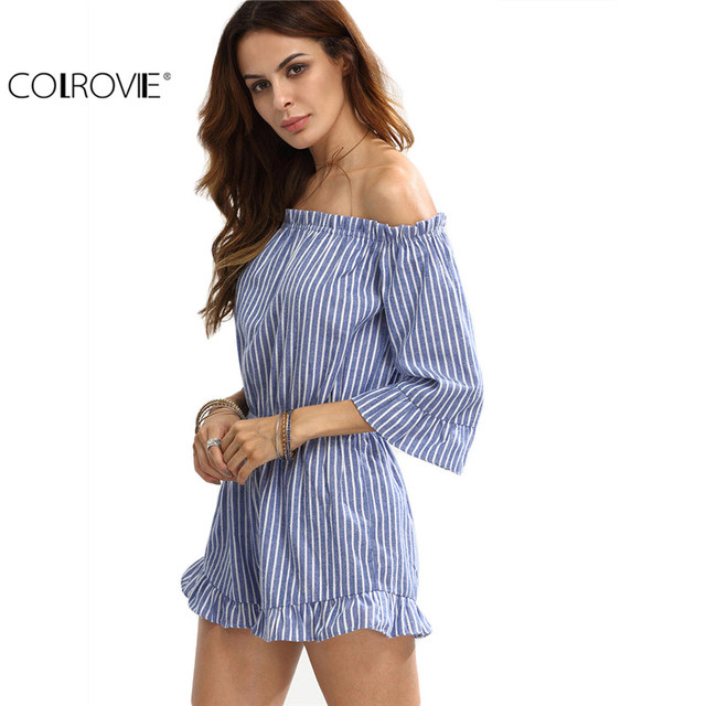 COLROVIE Rompers Womens Jumpsuit Shorts Womens One Piece Jumpsuit Blue Striped Off The Shoulder Ruffle Jumpsuit