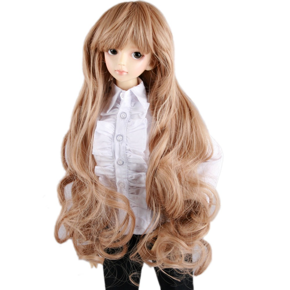 [wamami] 18# Brown Long Wavy Wig For 1/3 SD AOD DOD DZ BJD Dollfie 8-9 inch new 1 3 22 23cm 1 4 18 18 5cm bjd sd dod luts dollfie doll orange black short handsome wig