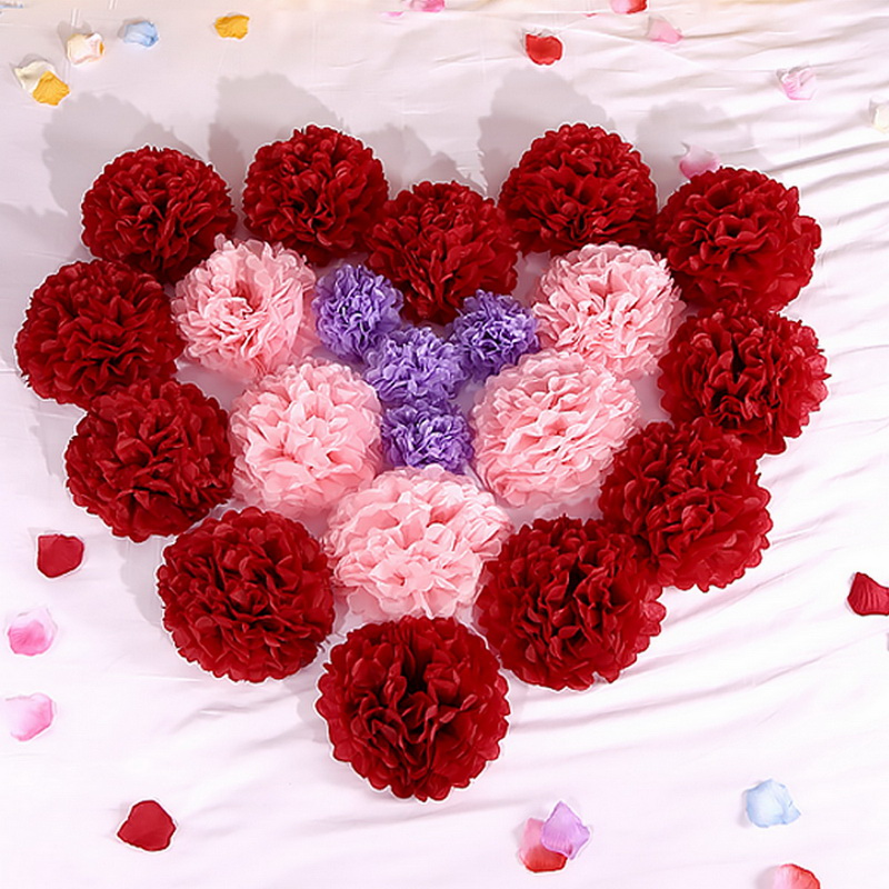 Hoomall 5PCs Wedding Decoration Pompon Tissue Paper Pom ...