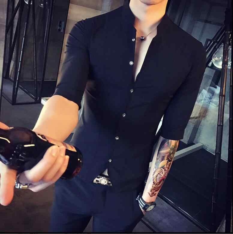 Camisa de estilo chino con cuello alto para Hombre Ropa de Corea ajustada para hombre media manga 2018 Camisa de Club de diseñador de verano Camisa Masculina