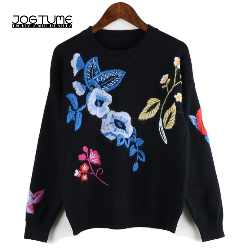 Women Floral Embroidery Sweater Jumper Spring Winter 2018 New Style Ladies Fashion Pullover Long Sleeve Female Wool Knitted Tops