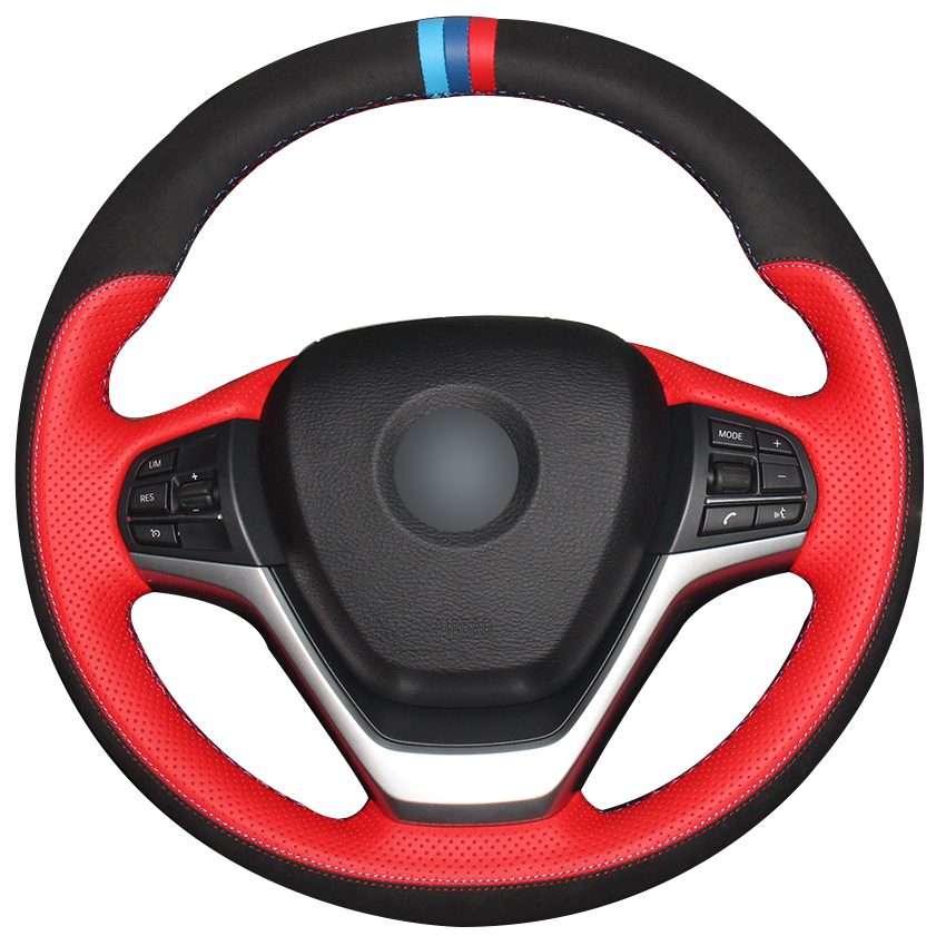 Red Natural Leather Black Suede Car Steering Wheel Cover for BMW F15 X5 2014 2017 F16