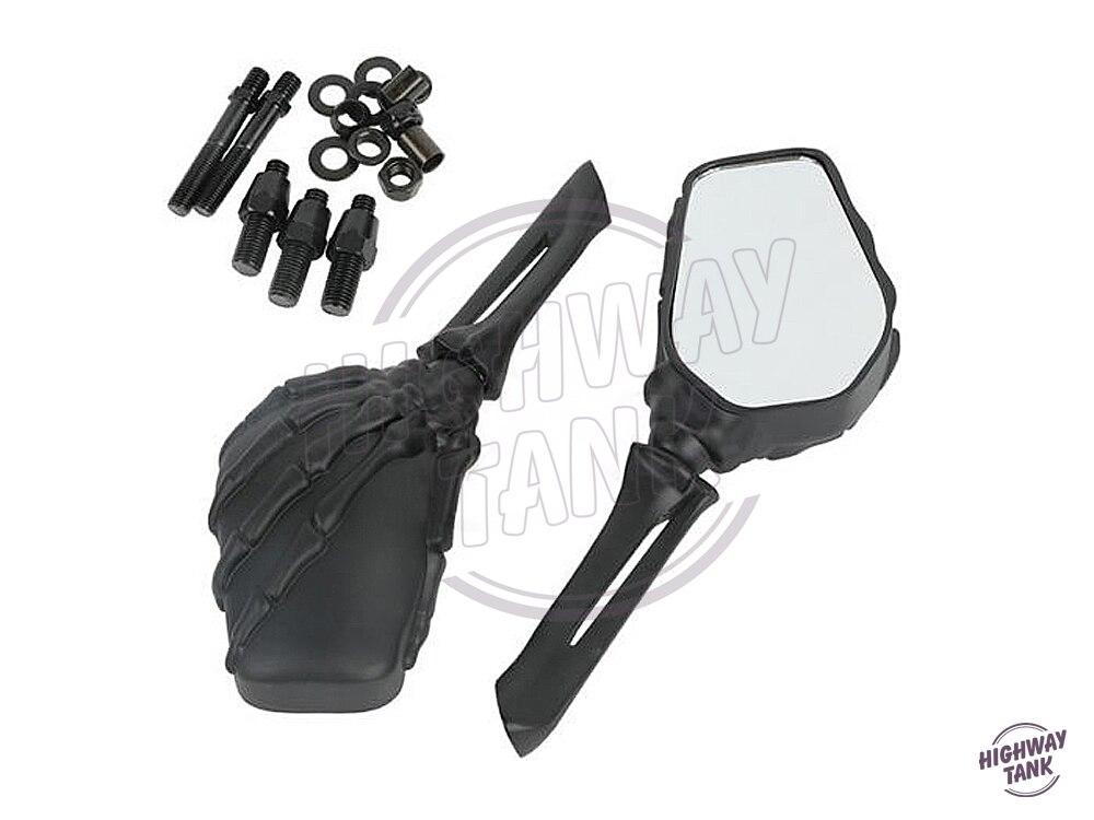Coque de rétroviseur noir squelette moto vue arrière pour Suzuki Kawasaki Harley Softail Honda Yamaha Royal Star