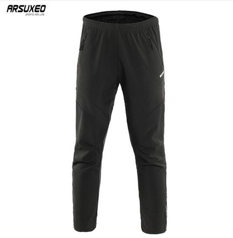 ARSUXEO Windproof Warm Thermal Outdoor Sports Mountain Bike Men Cycling Long Pants Reflective Trousers