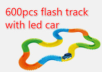 600 Pcs Magic With Cars Glowing Race Track Bend Flex Electronic Rail Glow Race Track Car
