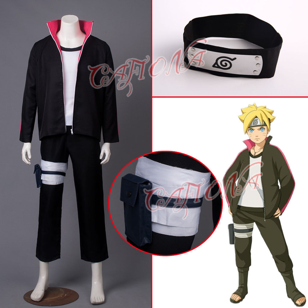 Cafiona New Arrival Naruto Boruto Uzumaki Naruto Cosplay Costume Black Headband Man Outfits Halloween