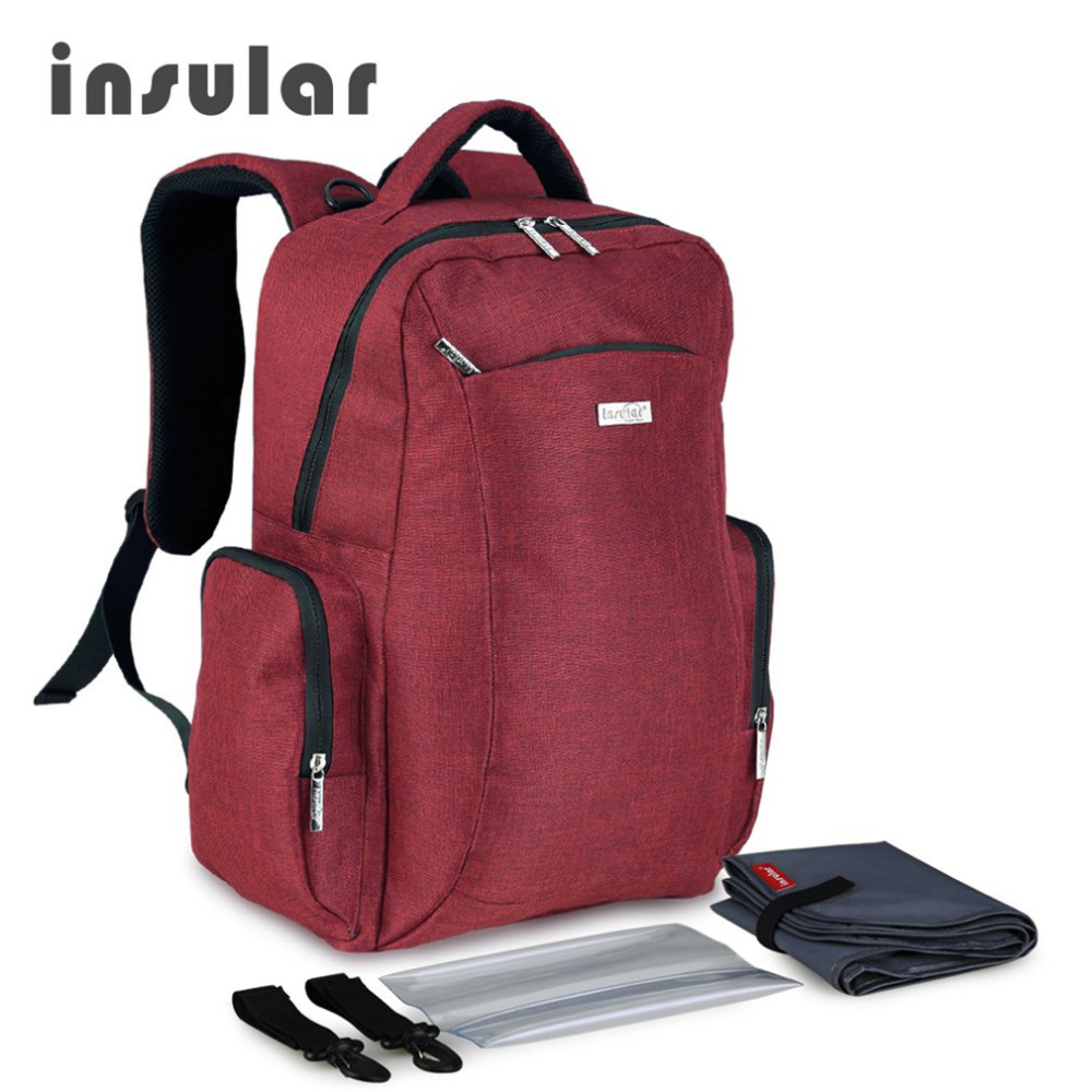 INSULAR Multifunctional Waterproof Nylon Bag Large Capacity Baby Diaper Bag Backpack Mommy Baby Nappy Organizer With Napkin Box