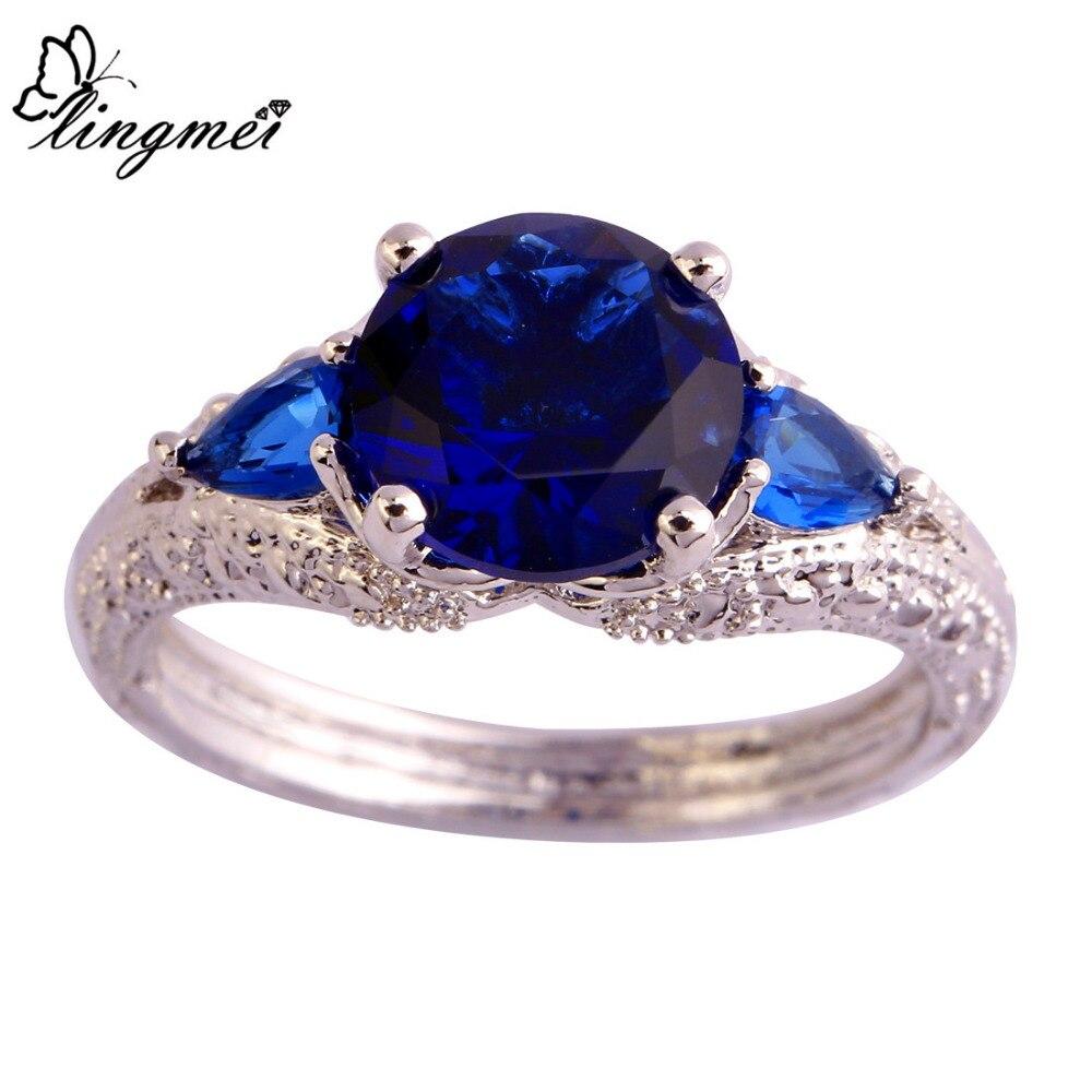 Lingmei Wholesale Round Cut Sapphire Quartz Silver Ring Size 6 7 8 9 10 11  Fashion