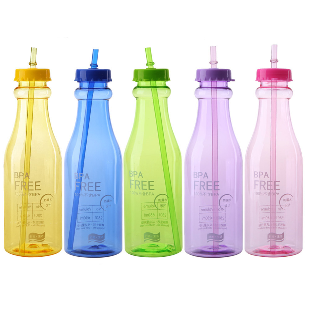 2016 New <font><b>Fashion</b></font> 5 Colors Unbreakable Water Bottle <font><b>Plastic</b></font> Portable Sports <font><b>Travel</b></font> <font><b>Plastic</b></font> Fruit Juice Water <font><b>Cup</b></font> With <font><b>Straw</b></font>
