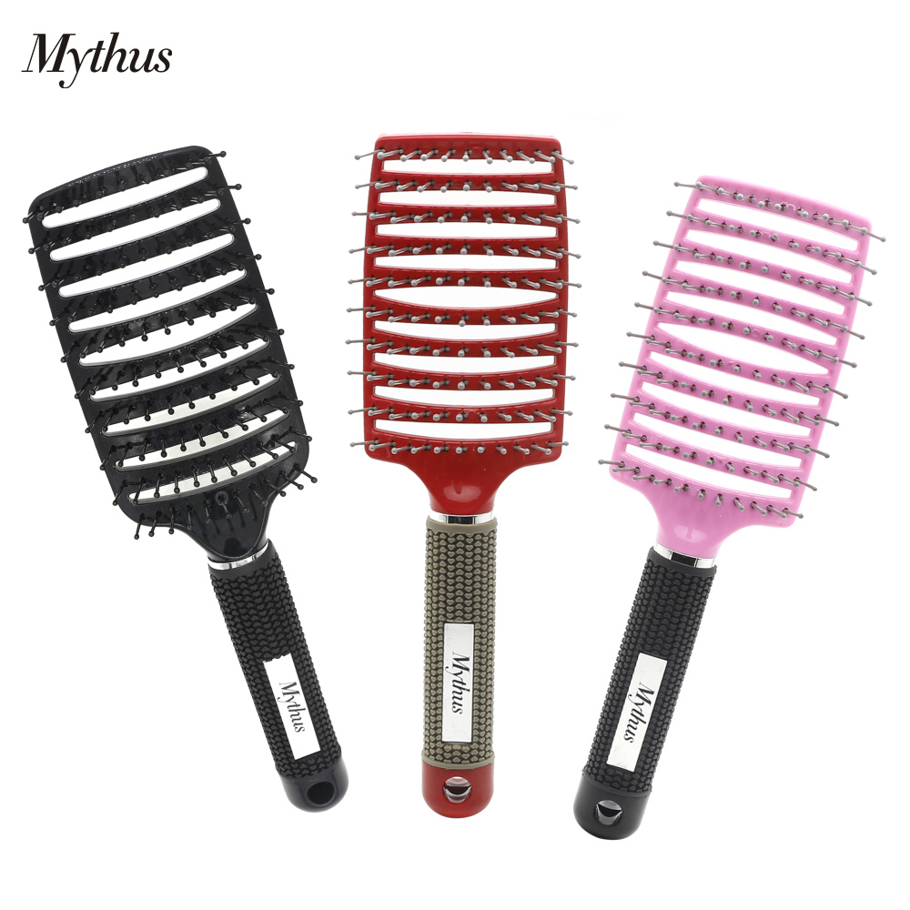 Hot Selling Detangle Hairbrush Wet Curl Salon Hair Brush In 6 Colors Wig Hair Styling Brush With Rubber Handle Hairdressing Tool