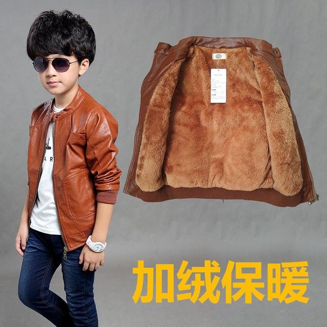 5885e3fa8 NEW 2018 Spring  Winter Baby Kids Motorcycle Jackets Thicken PU ...