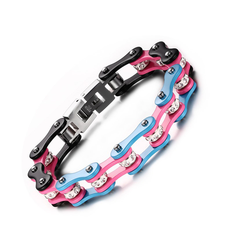 Hot Selling Titanium Steel Bracelet Bicycle Chain Bracelet Electric Three Color Bracelet BR 200