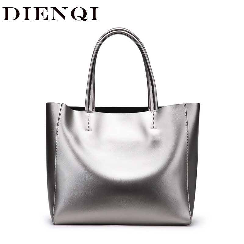 DIENQI brand women genuine leather bags silver large female shoulder bags big ladies purses and handbags
