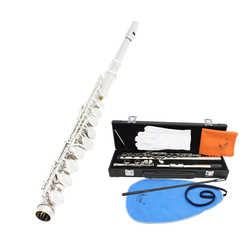 Western Concert Flute Cupronickel Plated Silver 16 Holes C Key Flute Woodwind Instrument with Cleaning Cloth Stick Gloves