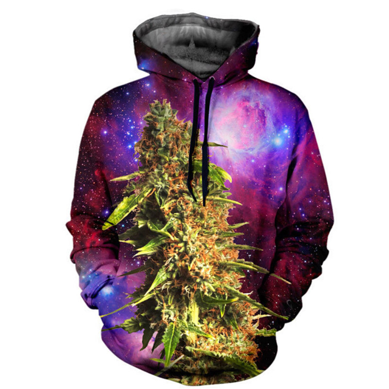 Harajuku hooded shirts BUD coral weed galaxy print 3d hoodie Women Men punk Sweatshirts Outfits Casual Sweats