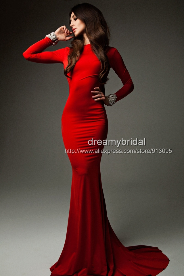 Wholesale 2014 Cheap Sexy New Red Long Sleeves Jersey Mermaid Prom Dresses  Backless Ruffles Beaded Evening Gowns TE 92271 on Aliexpress.com  bea48ede1556