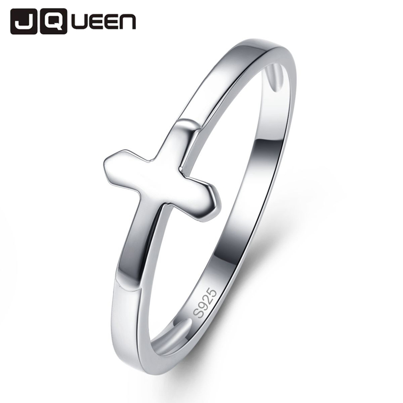 JQUEEN Vintage 925 Sterling Silver Faith Cross Shape Finger Rings for Women Sterling Silver Jewelry Gift