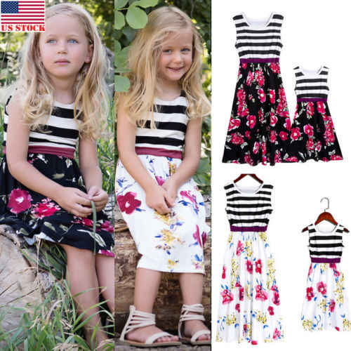 4c3c46f02dacf8 ... CANIS Mother and Daughter Dress Striped Matching Mom Girls Madi Dress  Family Dress ...