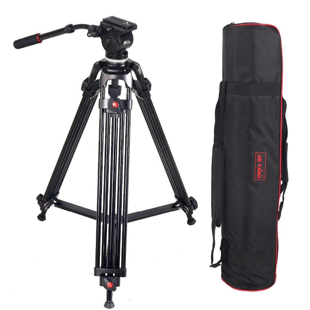 JY0508 JY-0508 JIEYANG Professional Tripod for Camera Aluminum Tripod Stand DSLR Fluid Head Damping Tripods for Video Shooting