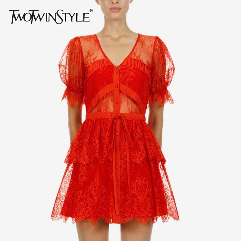 TWOTWINSTYLE Summer Embroidery Patchwork Women Dress V Neck Short Sleeve High Waist Perspective Party Dresses Female