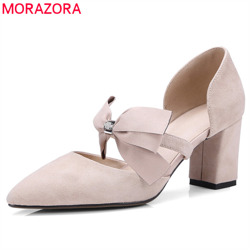 MORAZORA 2019 new arrival women pumps suede leather summer shoes pointed toe square high heels shoes party prom shoes woman MORAZORA 2019 new arrival women pumps suede leather summer shoes pointed toe square high heels shoes party prom shoes woman