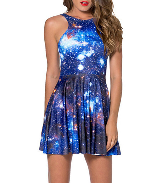 7a0ae1958d000 US $12.24 32% OFF|Fashion 1031 Sexy Girl Women Summer blue galaxy star sky  3D Prints Reversible Sleeveless Skater Pleated Dress-in Dresses from ...