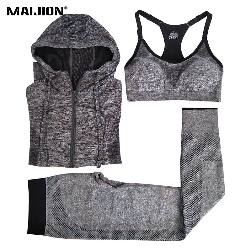 MAIJION Women Quick Dry Running Sets Absorb Sweat Sports Bra & Pants & Jacket Gym Fitness Sport Yoga Set Suit Grey Tracksuit купить