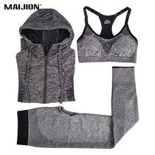 Фотография MAIJION Women Quick Dry Running Sets Absorb Sweat Sports Bra & Pants & Jacket Gym Fitness Sport Yoga Set Suit Grey Tracksuit