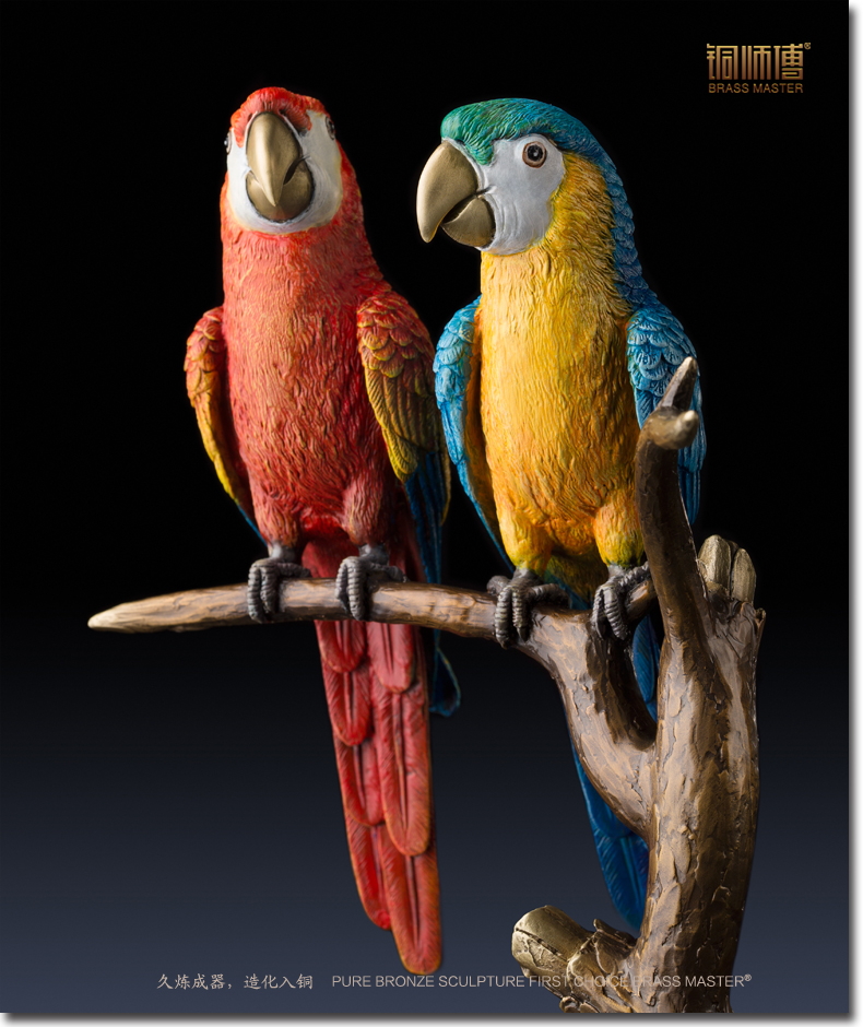 Unique art # TOP ART 2019 home office best Decoration 3D vivid parrots bird ART bronze statue sculpture # 32 CM LARGEUnique art # TOP ART 2019 home office best Decoration 3D vivid parrots bird ART bronze statue sculpture # 32 CM LARGE