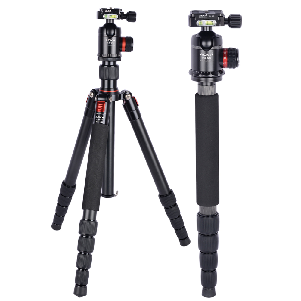 AOKA KT285A Professional 5 sections travel aluminium alloy tripod dslr camera stand with tripod ball head kB38 aluminium alloy professional camera tripod flexible dslr video monopod for photography with head suitable for 65mm bowl size