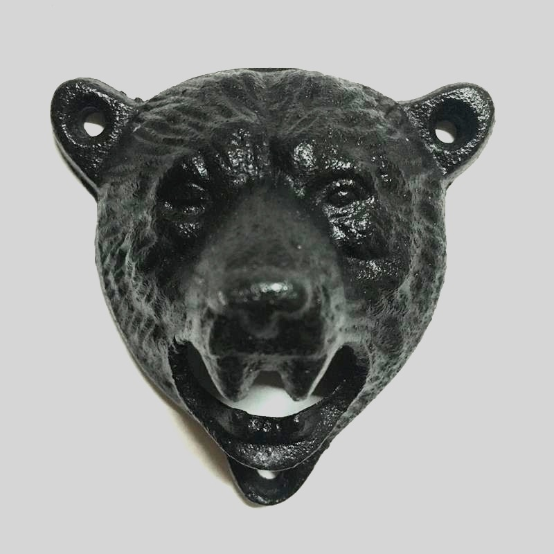 cast iron bear shaped hang wall mounted bottle opener