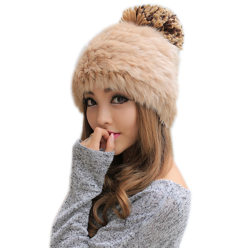 Elegant Women Real Rabbit Fur Hats 2017 Winter Hats Knitted Worm Caps   Skullies     Beanies   Ladies Hat Solid Colors Gorros Cap   Beanie