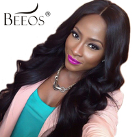 BEEOS 150 Density 14 24 Full Lace Human Hair Wigs For Women With Baby Hair Brazilian Remy Hair Pre Plucked Lace Wig