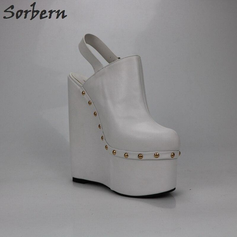 Sorbern/белые женские туфли лодочки на высоком каблуке 20 см; туфли на толстой платформе с открытой спиной; модная женская обувь на платформе - 6