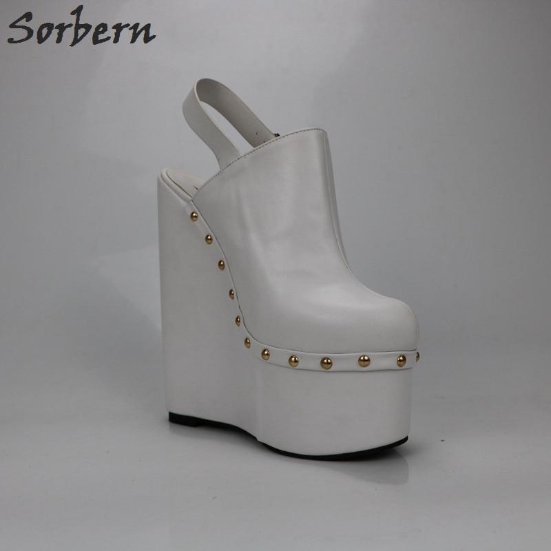 Sorbern White Heels Wedged Slingbacks 20Cm High Heels Women Pumps Open Back Thick Platform Shoes Ladies Platform Heels Fashions - 6