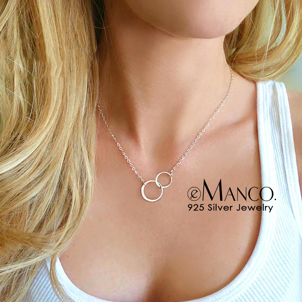 e-Manco Double Circle Interlock Clavicle Short Necklace 925 Sterling Silver Necklace For Women Bohemian Infinity Necklaces
