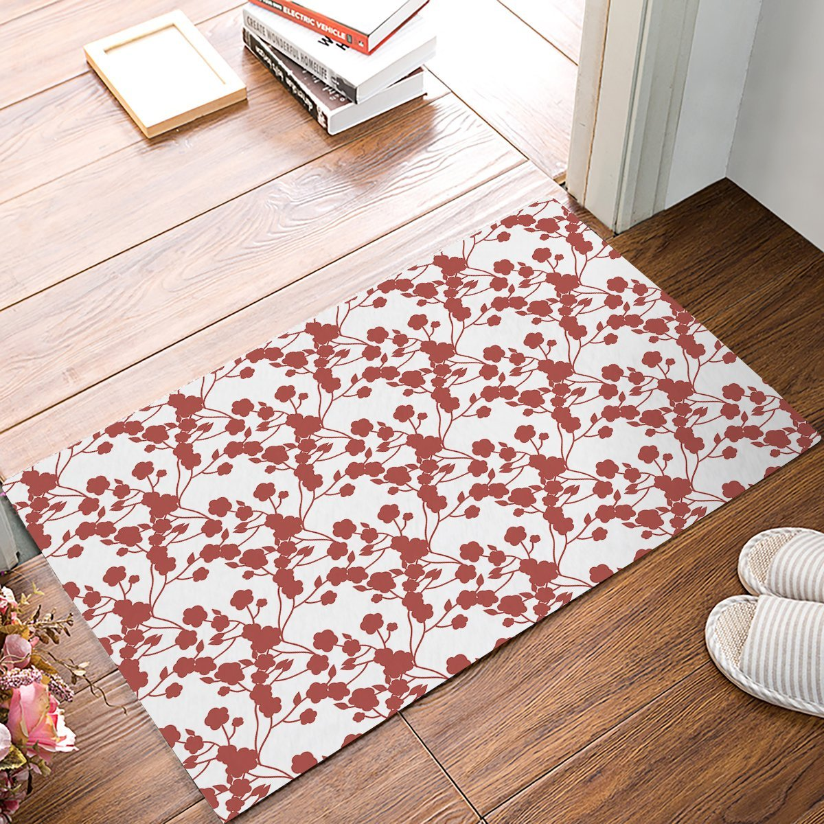 Red And White Japanese Style Flower Plant Pattern Door
