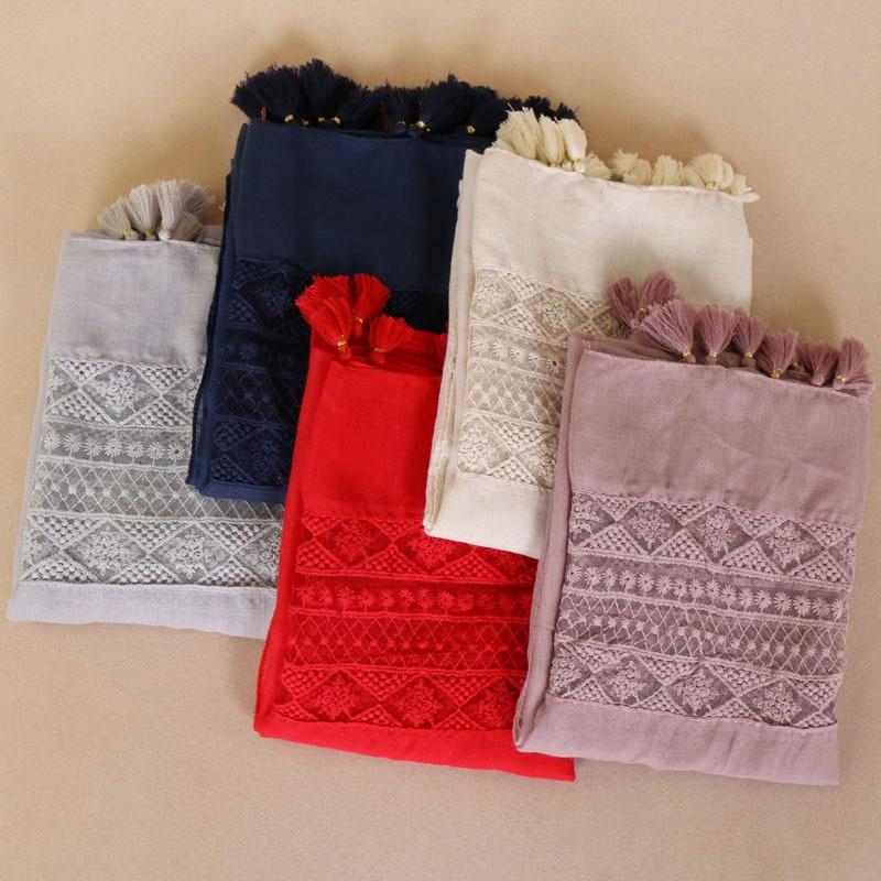 Nation Clothes Accessories Woman Lace Tassels Scarf Turban Muslim Head Scarf Wholesale Islamic Hijab