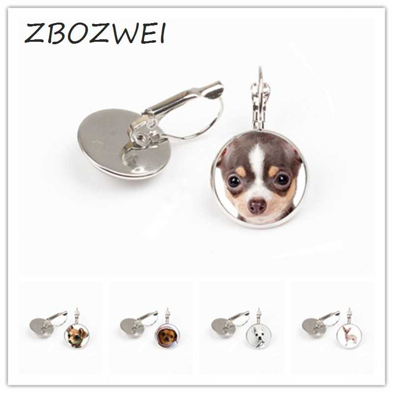 ZBOZWEI 2018 Cute chihuahua gear earring dog collar crystal dome fashion steampunk women gift silver earring