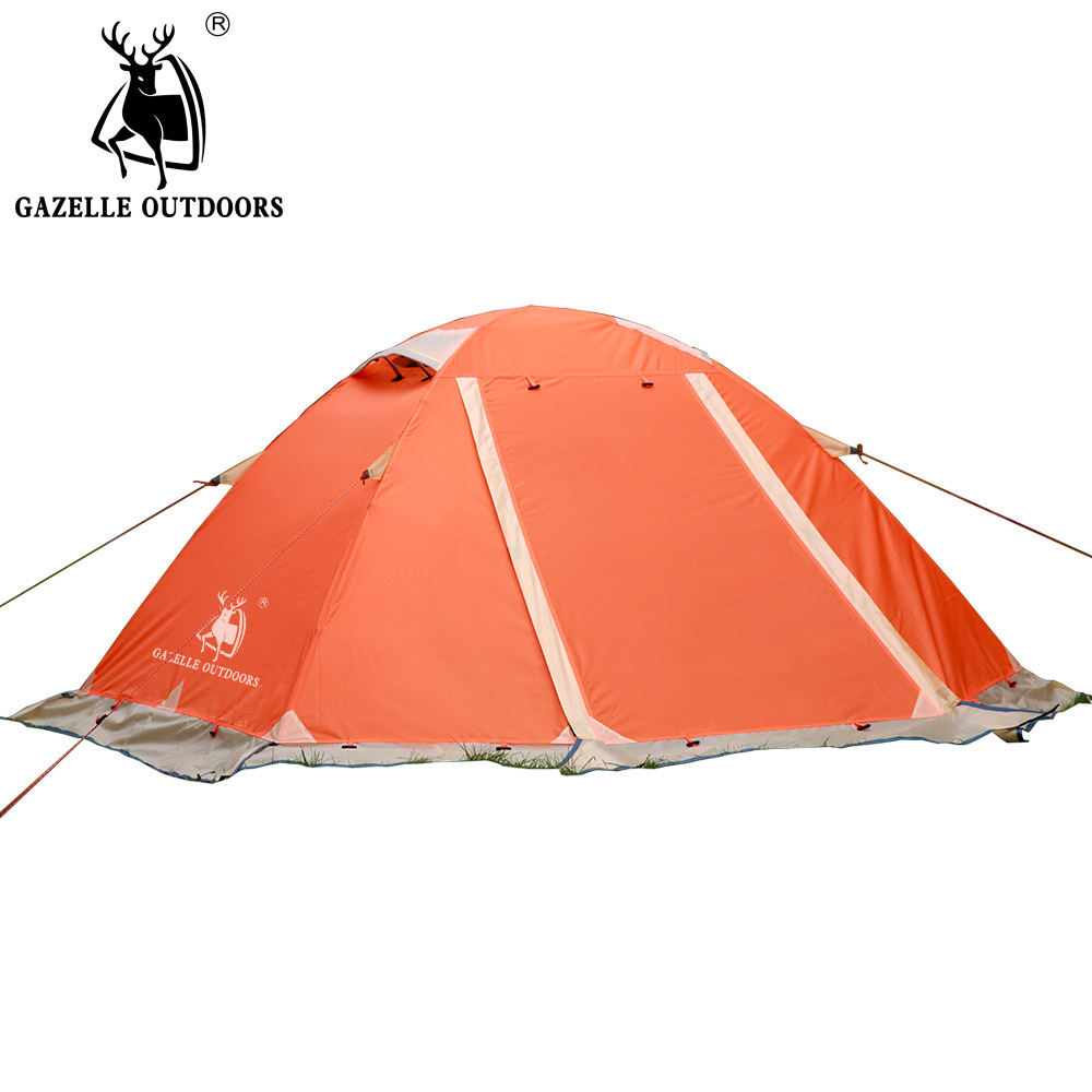 Gazelle outdoors 2persons double layer aluminum pole with snow skirt camping tent rainproof wind proof snow proof camping tent hewlof super strong double layer aluminum pole 2 person waterproof ultralight tent with snow skirt